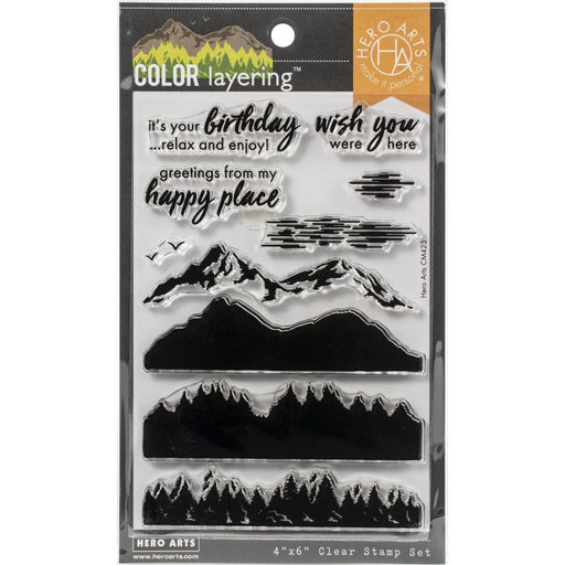 "Hero Arts Color Layering Clear Stamps 4""X6"" - Mountains at the Lake"