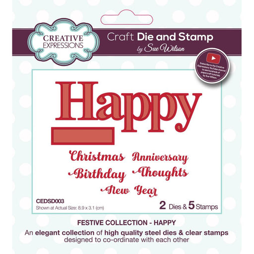 Creative Expressions Craft Die And Stamp Set - Happy