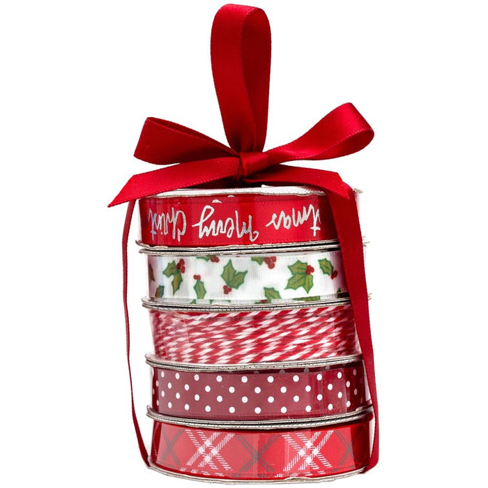 American Crafts Premium Ribbon & Twine 5/Pkg - Merry Christmas