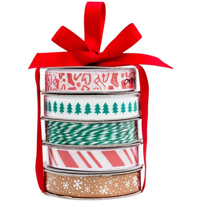 American Crafts Premium Ribbon & Twine 5/Pkg - Traditional Christmas