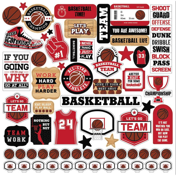 "Basketball Cardstock Stickers 12""X12"""