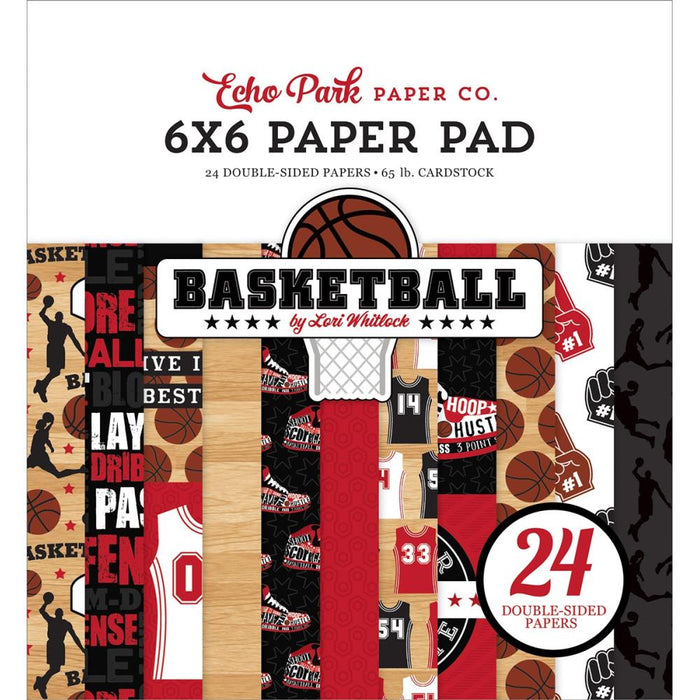 "Basketball Echo Park Double-Sided Paper Pad 6""X6"" 24/Pkg"