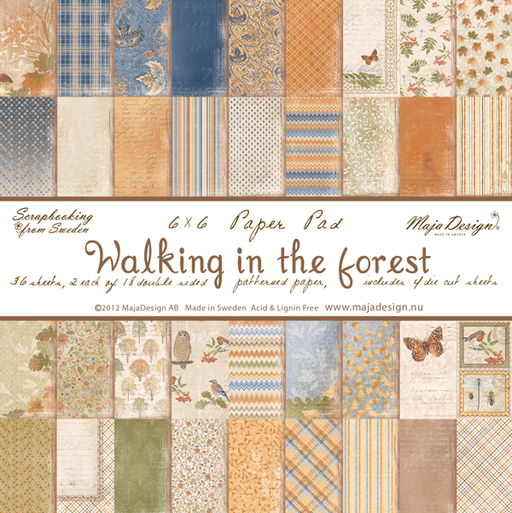 "MajaDesign 6""x6"" Paper pad Double Sided Patterned Paper Walking in the Forest"
