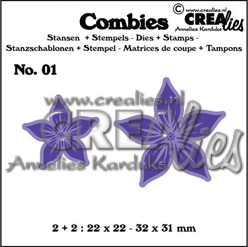 Combies Dies+Stamp No.1 - Flowers A