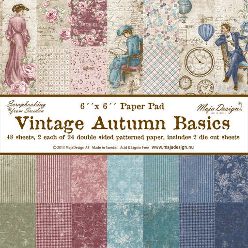 "MajaDesign 6""x6"" Paper pad Double Sided Patterned Paper Vintage Autumn Basics"
