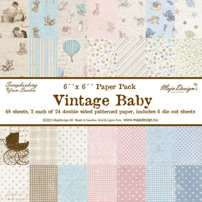 "MajaDesign 6""x6"" Paper pad Double Sided Patterned Paper Vintage Baby"