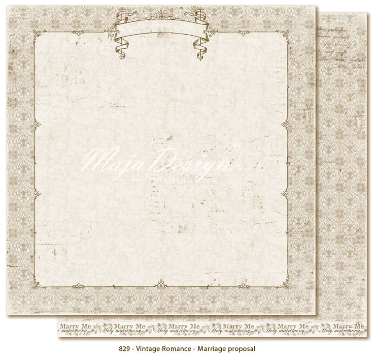 "MajaDesign 12""x12"" Vintage Romance Collection Marriage Proposal VIN-829"