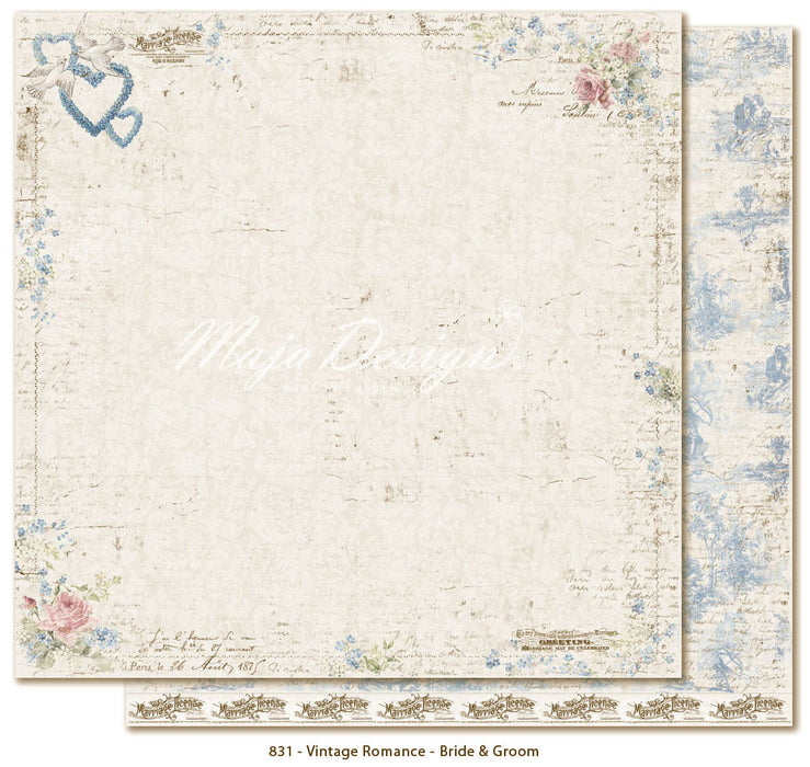 "MajaDesign 12""x12"" Vintage Romance Collection Brid & Groomt VIN-831"