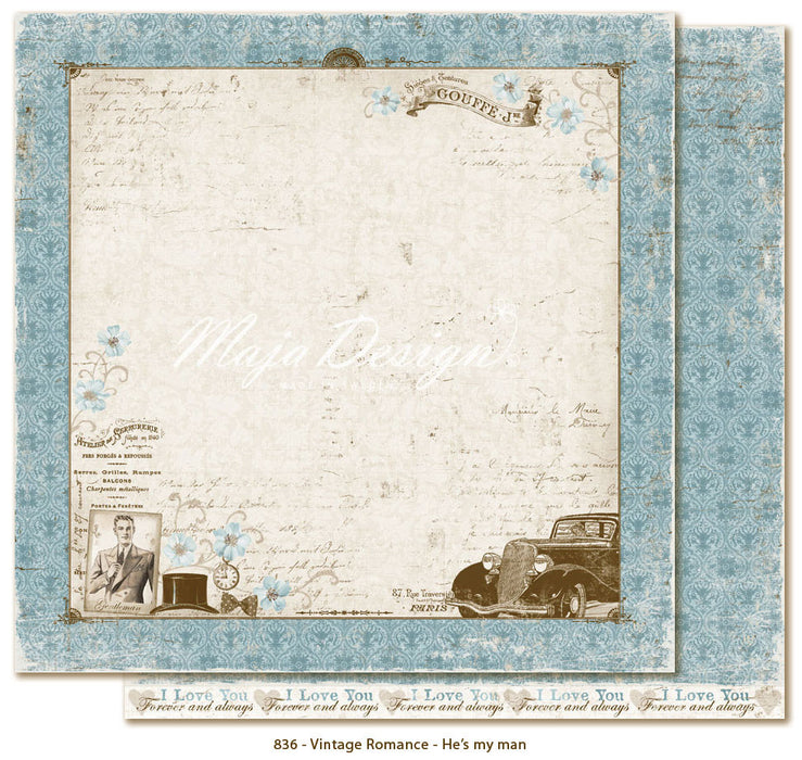 "MajaDesign 12""x12"" Vintage Romance Collection  He is my man VIN-836"