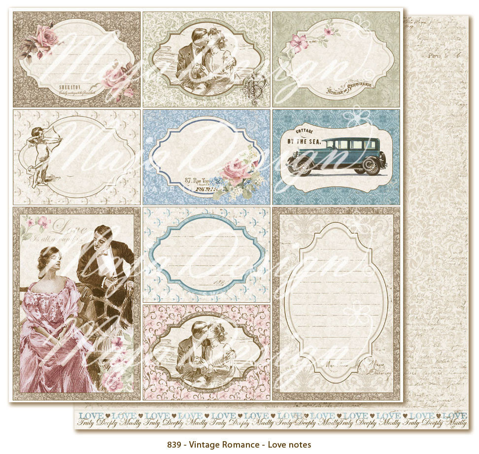 "MajaDesign 12""x12"" Vintage Romance Collection  Love Notes VIN-839"
