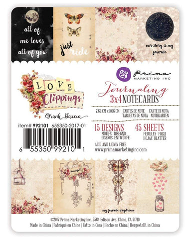 Prima Marketing 3x4 Journaling Cards - Love Clippings Art