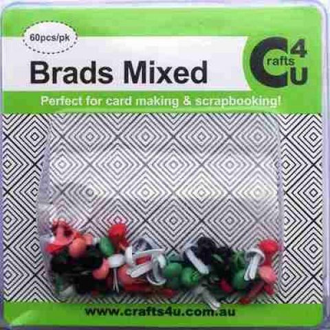 Crafts4U Brads Mixed Colours 60 Pack