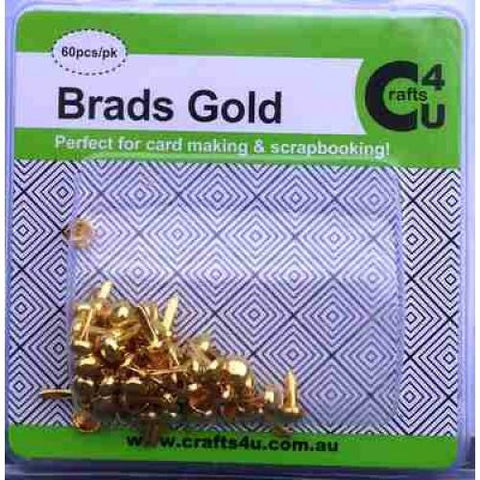 Crafts4U Brads Gold Colour 60 Pack