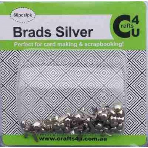 Crafts4U Brads Silver Colour 60 Pack