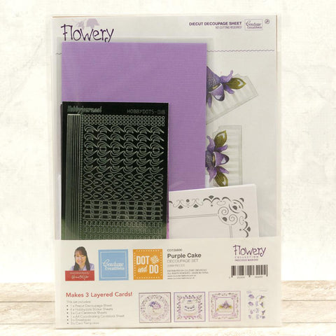 Dot & Do 3D Push Out Kit - Flowery Collection Precious Marieke - Purple Cake
