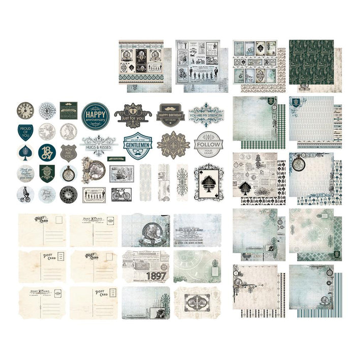 Paper- Gentlemans Emporium Collection Pack - Stickers, Postcards and Papers - 12 x 12in