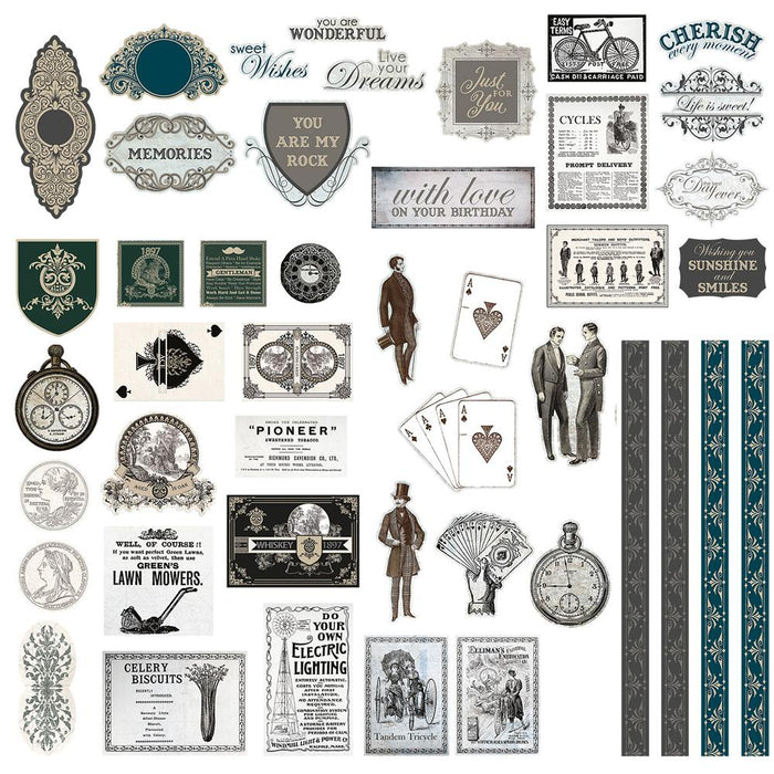 Ephemera - Gentlemans Emporium Diecut Ephemera Set - Assorted Sizes