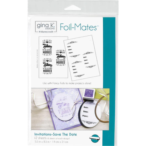 "Gina K Designs Foil-Mates Invitations 5.5""X8.5"" 12/Pkg- Save the Date"