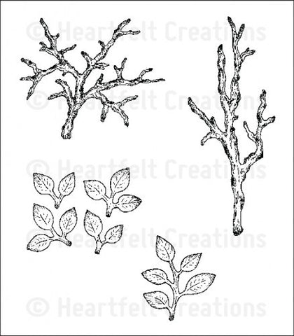 Heartfelt  Creations leafy branch stamp HCPC-3645