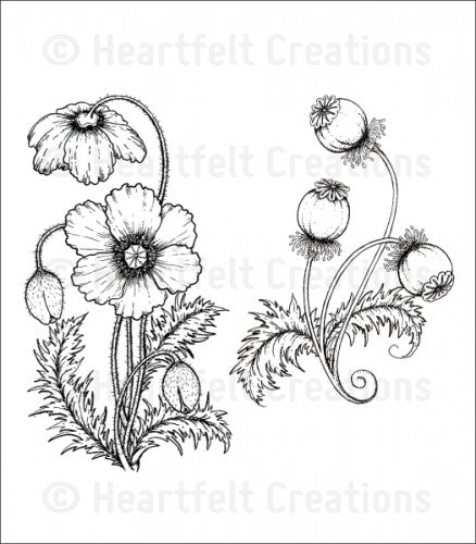 Blazing Poppy Stems Stamp