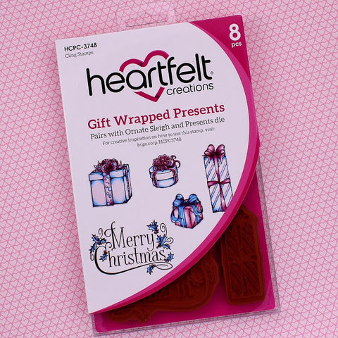 Heartfelt Creations Celebrate the Season Stamp HCPC-3748 Gift Wrapped Presents