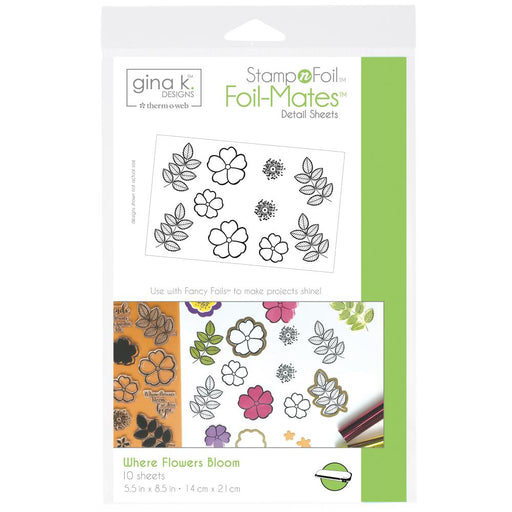 Gina K Designs StampnFoil Foil-Mates Detail Sheets 10/Pkg - Where Flowers Bloom