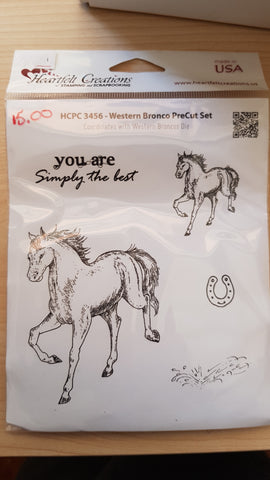 Heartfelt Creations Western Bronco Cling Stamp Set   HCPC-3456