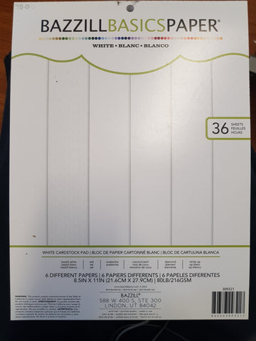 Bazzill Basics Paper White 6 different papers