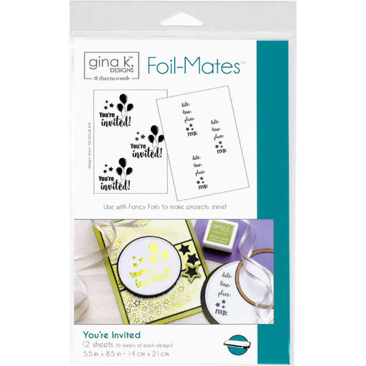 "Gina K Designs Foil-Mates Invitations 5.5""X8.5"" 12/Pkg - You're Invited"