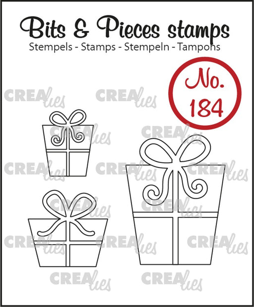 Crealies - Bits & Pieces stamp no. 184 -  3x Gifts