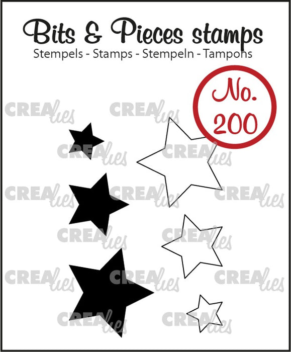 Bits & Pieces stamp no. 200, stars (closed and outline)