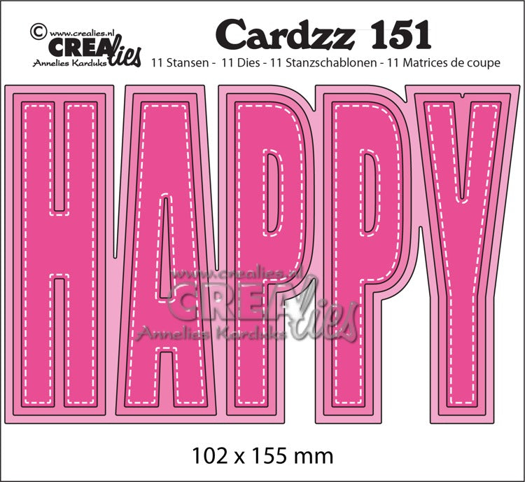 Crealies - Cardzz no.151 - HAPPY (cardsize)