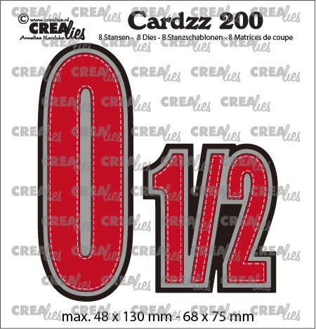 Crealies - Cardzz die no.200 - Numbers 0 and 1/2