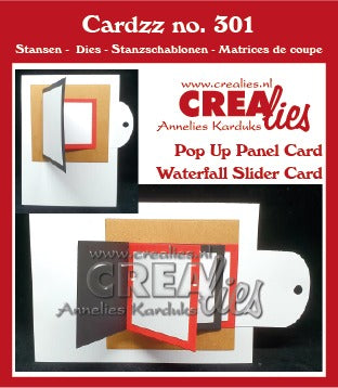 Cardzz Punches no. 301, Waterfall sliding card + Flip over card
