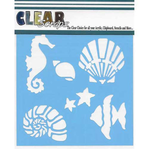 "Clear Scraps 12""x12"" Stencil Ocean Friends"
