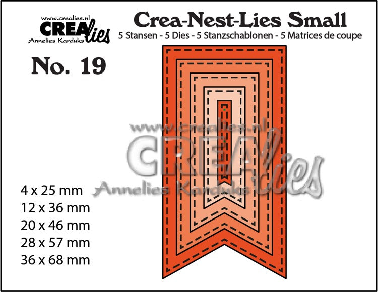 Crea-Nest-Lies Small die-cutting no. 19. 5x Banners with stitching line