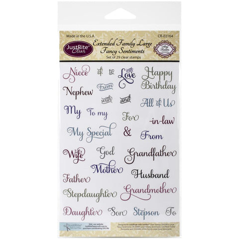 "JustRite Papercraft Clear Stamps 4""X6"" Extended Family Large Fancy Sentiments"