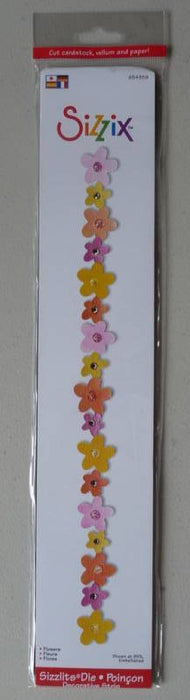 "5005 SIZZIX Sizzlits Decorative Strip FLOWERS BORDER, Tool - 13""x3"""