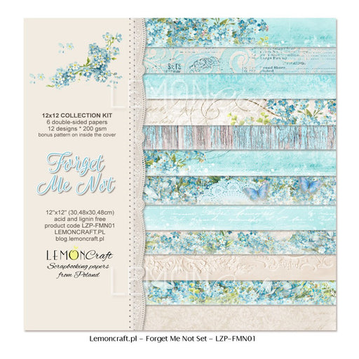"Set of Scrapbooking Papers - Forget Me Not - 12""X12"""