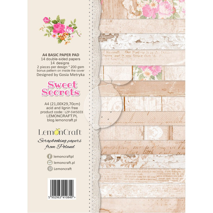 Stack of Basic Scrapbooking Papers - Sweet Secrets - A4