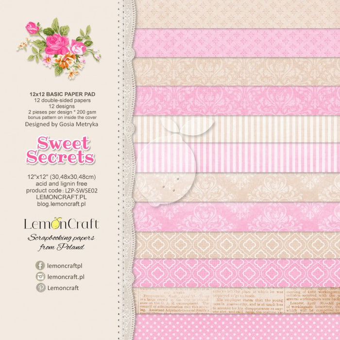 "Stack of Basic Scrapbooking Papers - Sweet Secrets - 12""x12"""