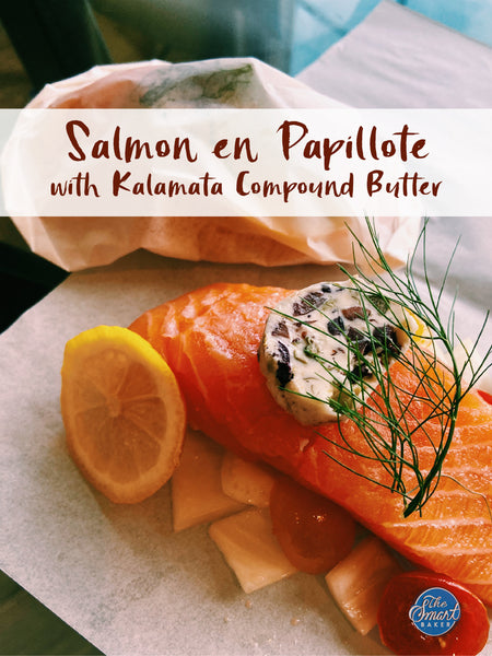 Salmon en Papillote with Kalamata Compound Butter
