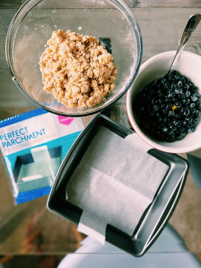 Prepping your pan for Lemon Thyme Blueberry Bars