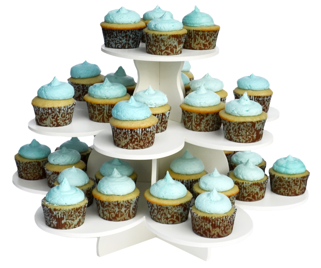 3 tier flower cupcake tower with cupcakes