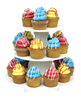 3 Tier Round cupcake stand with cupcakes