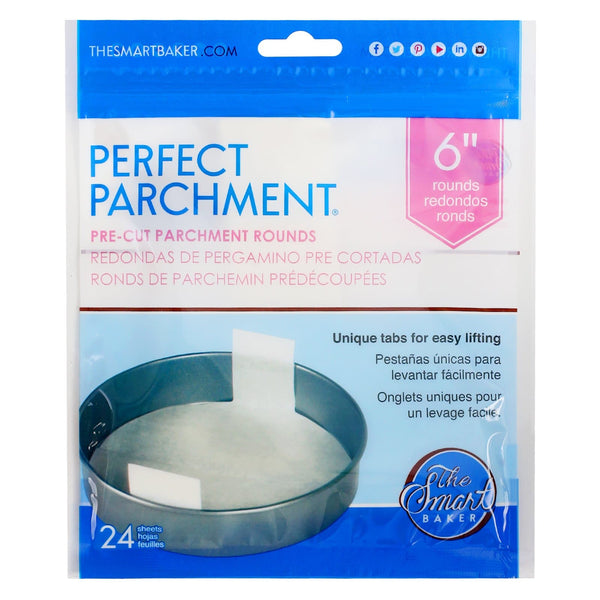 6 inch round parchment with lift tabs - 24 Pack - Package Front