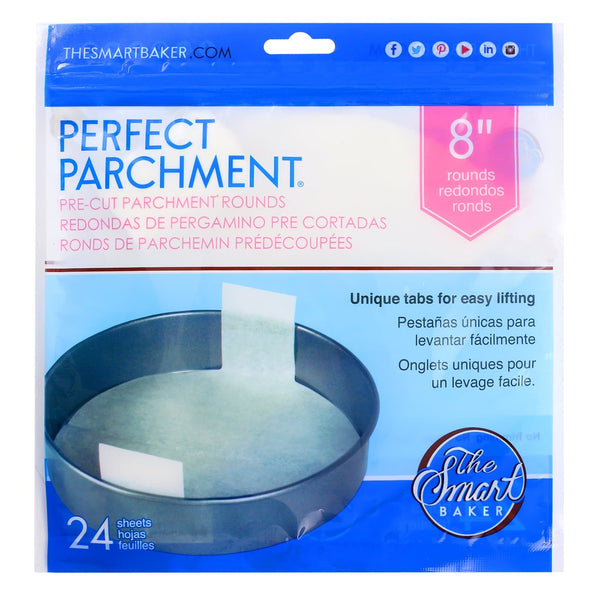 8 inch round parchment with lift tabs - 24 Pack - Package Front