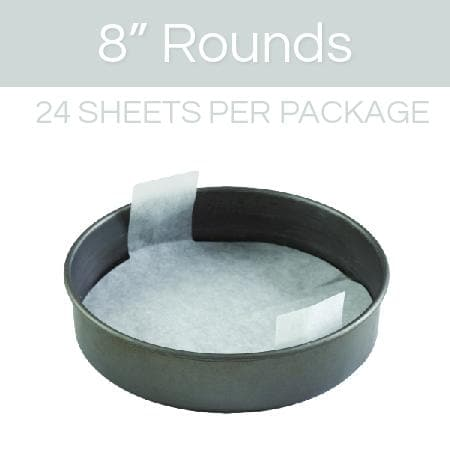 8 inch round parchment with lift tabs - 24 Pack - Icon
