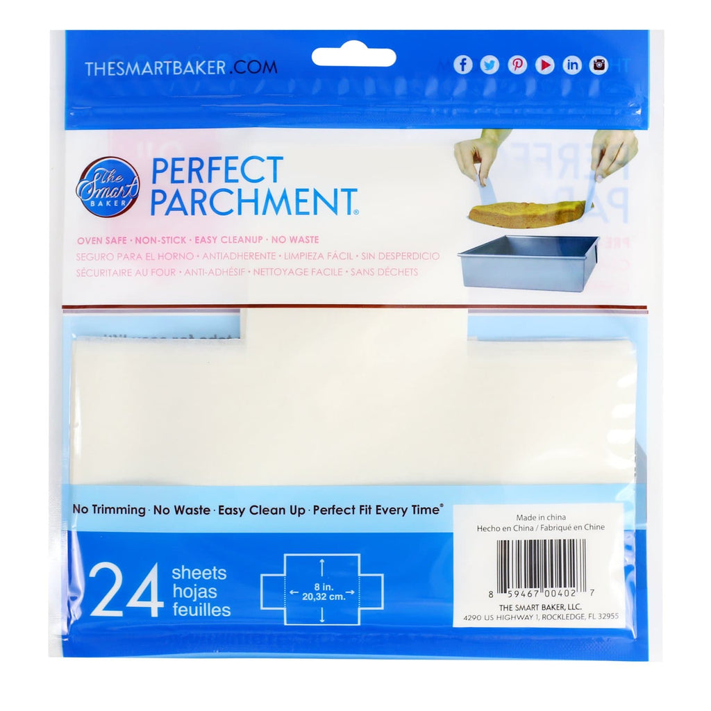 8 inch square parchment with lift tabs  - 24 Pack - Package Back