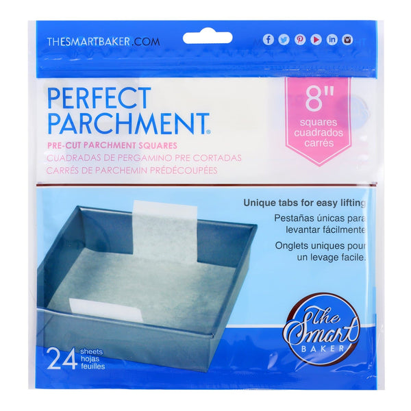 8 inch square parchment with lift tabs - 24 Pack - Package Front